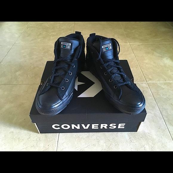 NIB Converse All Black CTAS Street Mids, Size 13